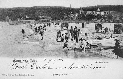 Strandleben in Binz auf Rügen um 1900