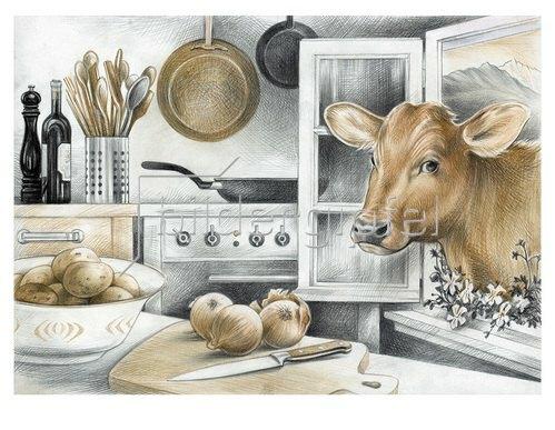 Reinhard Michl: Küchenansicht mit Kuh