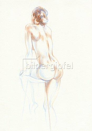 Reinhard Michl: Zeichnung, Rückenakt