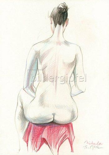 Reinhard Michl: Zeichnung, Rückenakt Michaela