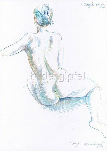 Reinhard Michl: Zeichnung, Rückenakt Tanja
