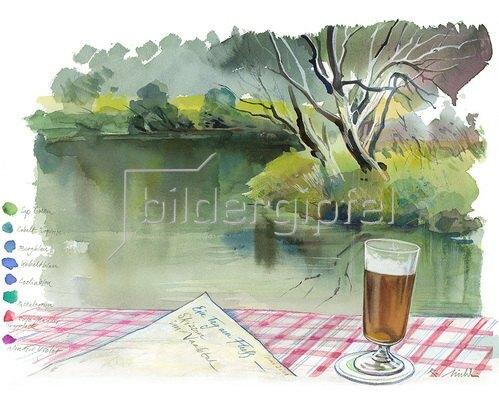 Reinhard Michl: Ein Tag am Fluß, Skizzen im Naabtal, Aquarell 2011