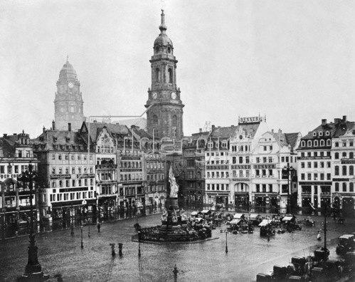 Gebrüder Haeckel: Königreich Sachsen: Dresden, Altmarkt mit der Kreuzkirche, um 1910