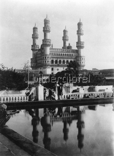 Gebrüder Haeckel: Hyderabad: Charminar Moschee: Denkmal zum Gedaechtnis an das Ende der Pest, erbaut von Koenig Quli Qutb Schah 1591, um 1910