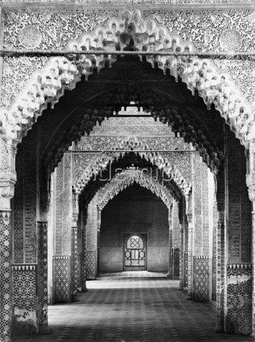 Gebrüder Haeckel: Andalusien, Granada: Burganlage Alhambra, Saal der Gerechtigkeit, um 1910