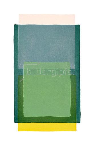 Werner Maier: Abstraktes Aquarell Rosa Gelb und 3x Grün