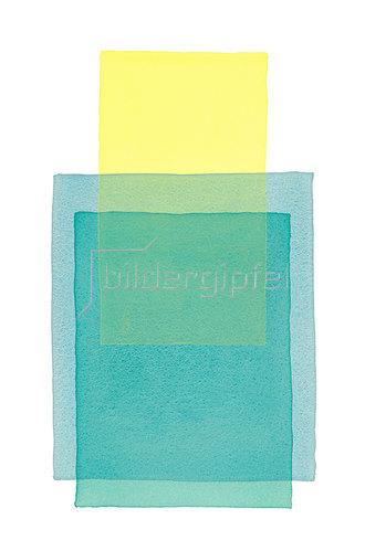 Werner Maier: Abstraktes Aquarell Gelb Blau