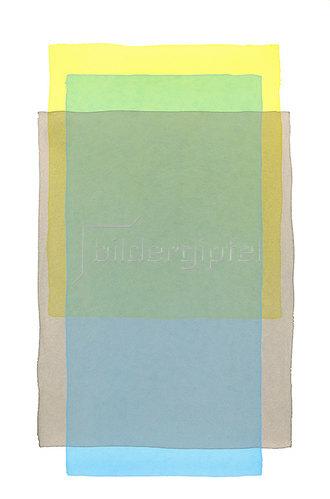 Werner Maier: Abstraktes Aquarell Gelb Grau Blau