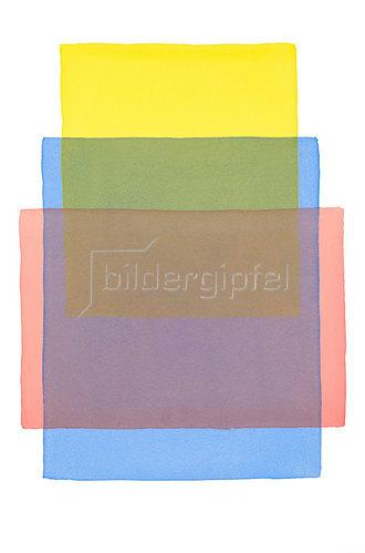 Werner Maier: Abstraktes Aquarell Gelb Blau Rot