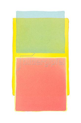 Werner Maier: Abstraktes Aquarell Blau Gelb Rot