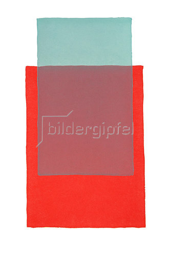 Werner Maier: Abstraktes Aquarell Rot und Grün -Original