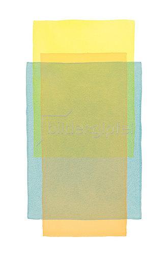 Werner Maier: Abstraktes Aquarell Gelb Blau Orange - Original