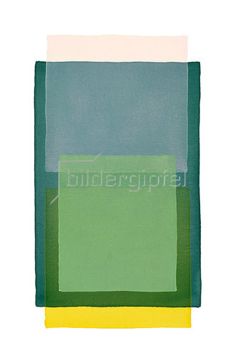 Werner Maier: Abstraktes Aquarell Rosa Gelb und 3x Grün - Original