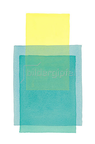 Werner Maier: Abstraktes Aquarell Gelb Blau II - Original