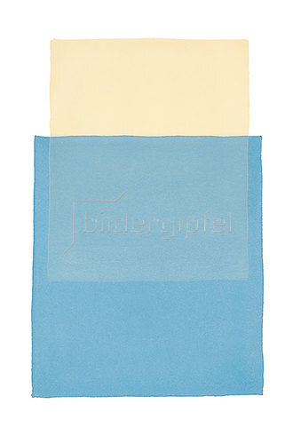 Werner Maier: Abstraktes Aquarell Beige Blau - Original