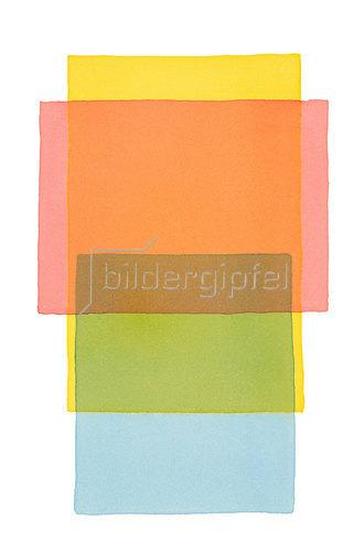 Werner Maier: Abstraktes Aquarell Gelb Rot Blau - Original