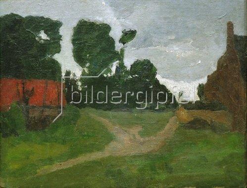 Paula Modersohn-Becker: Am Dorfrand, rotes Haus und alte Fabrik, 1900