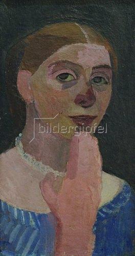 Paula Modersohn-Becker: Selbstbildnis mit blauem, weißgestreiftem Kleid, um 1906