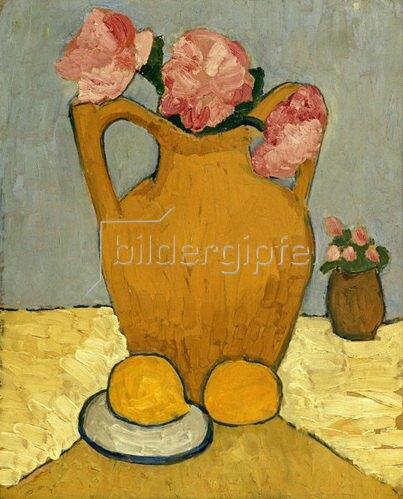 Paula Modersohn-Becker: Still life with oranges, jar and peonies, 1906
