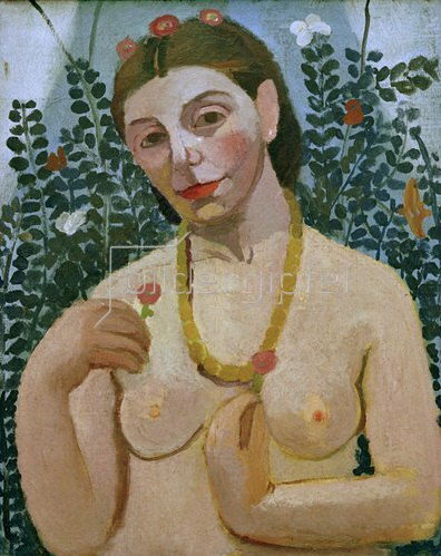Paula Modersohn-Becker: Self portrait with nude torso and amber necklace, II, 1906