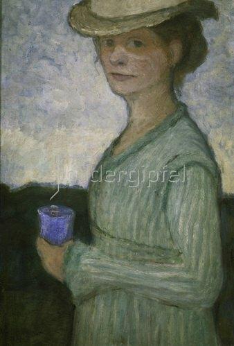 Paula Modersohn-Becker: Selbstbildnis mit blauem Glas, um 1902