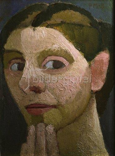 Paula Modersohn-Becker: Selbstbildnis, mit Hand am Kinn, 1906/1907