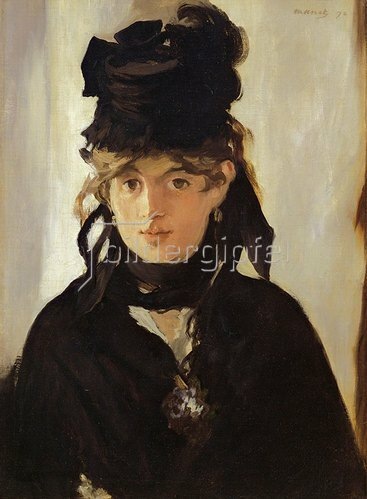 Edouard Manet: Berthe Morisot (1841-1895) mit einem Veilchen-Strauss. 1872.