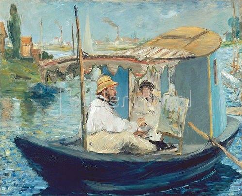 Edouard Manet: Die Barke. (Claude Monet in seinem schwimmenden Atelier). 1874.