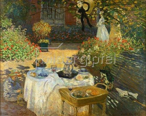Claude Monet: Das Mittagessen: dekorative Tafel. (im Garten Claude Monets in Argenteuil). Gegen 1873
