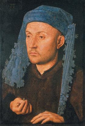 Jan van Eyck: Bildnis eines Mannes mit blauer Kopfbedeckung