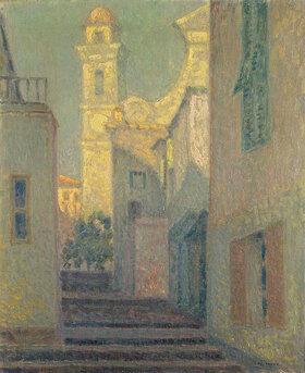 Henri Le Sidaner: Die Treppe zur Kirche in Villefranche sur Mer