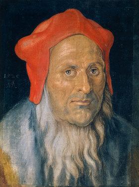 Albrecht Dürer: Bildnis eines bärtigen Mannes mit roter Haube