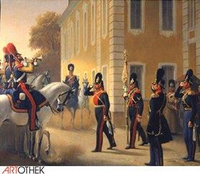 Adolf Gebens: Wachablösung der Leibgarde im Grossen Palast Peterhof