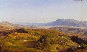 """Johann Wilhelm Schirmer: """"Die Serpentara bei Civitella und Olevano"""" - Blick gegen Süden von der Serpentara über das Saccotal auf die Volskerberge und links die Hernikerberge, vorne rechts Olevano, dahinter Paliano"""