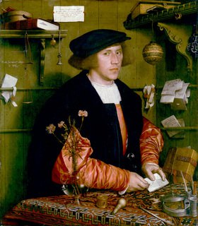 Hans Holbein d.J.: Bildnis des Kaufmanns Georg Gisze. 1532, Öl auf Eichenholz, 96 x 86 cm
