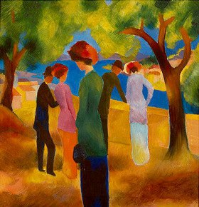 August Macke: Dame in grüner Jacke