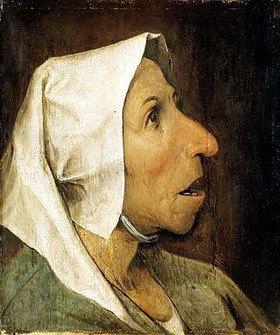 Pieter Brueghel d.Ä.: Kopf einer alten Bäuerin