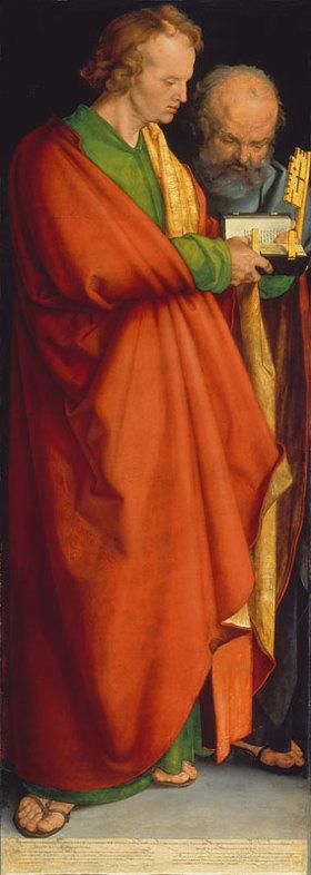 Albrecht Dürer: Die Apostel Johannes Evangelist und Petrus. (Linke Tafel Die vier Apostel)