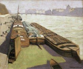 Felix Vallotton: Lastkähne am Seine-Ufer