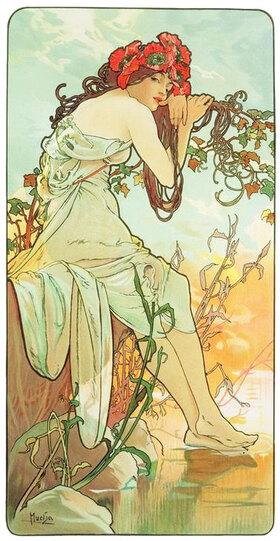 """Alfons Mucha: Été (Sommer), 1896, Ausschnitt aus """"Die vier Jahreszeiten"""""""