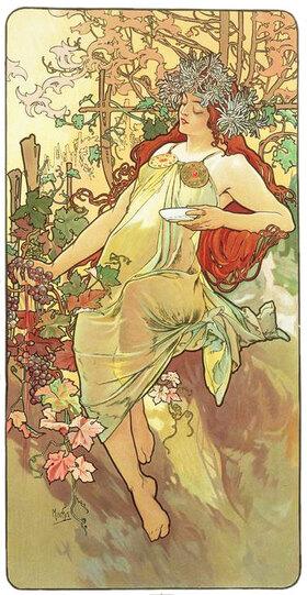 """Alfons Mucha: Automne (Herbst), 1896, Ausschnitt aus """"Die vier Jahreszeiten"""""""