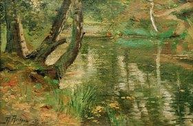 Anatolij Fedorovich Andronov: Sommerliche Flusslandschaft mit Bäumen