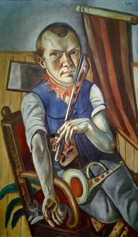 Max Beckmann: Selbstbildnis mit Pritsche und Trompete