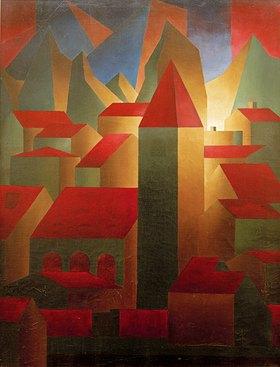 Carl Grossberg: Häuser, Turm, Gebirge