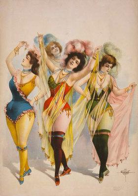 Frauen in kurzen Bühnenkostümen mit Schleiern und Federputz