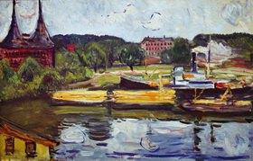Edvard Munch: Am Holstentor 1907, Öl auf Leinwand, 84 × 130 cm