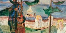 Edvard Munch: Sommertag, Öl auf Leinwand, 90 × 195 cm, Aus dem Linde-Fries, Oslo, Privatsammlung