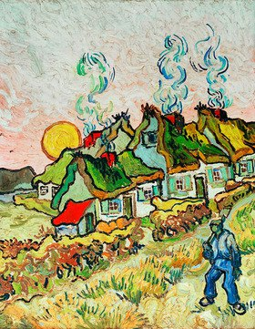 Vincent van Gogh: Bauernhäuser bei Sonnenuntergang