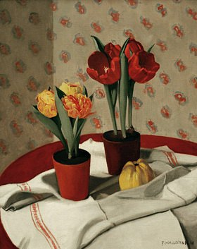 Felix Vallotton: two pots with yellow and red tulips