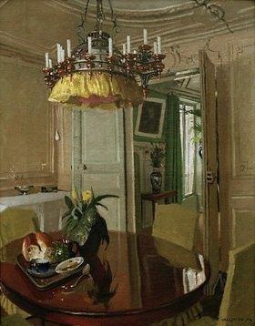 Felix Vallotton: Interieur: Esszimmer mit Blumenstrauß